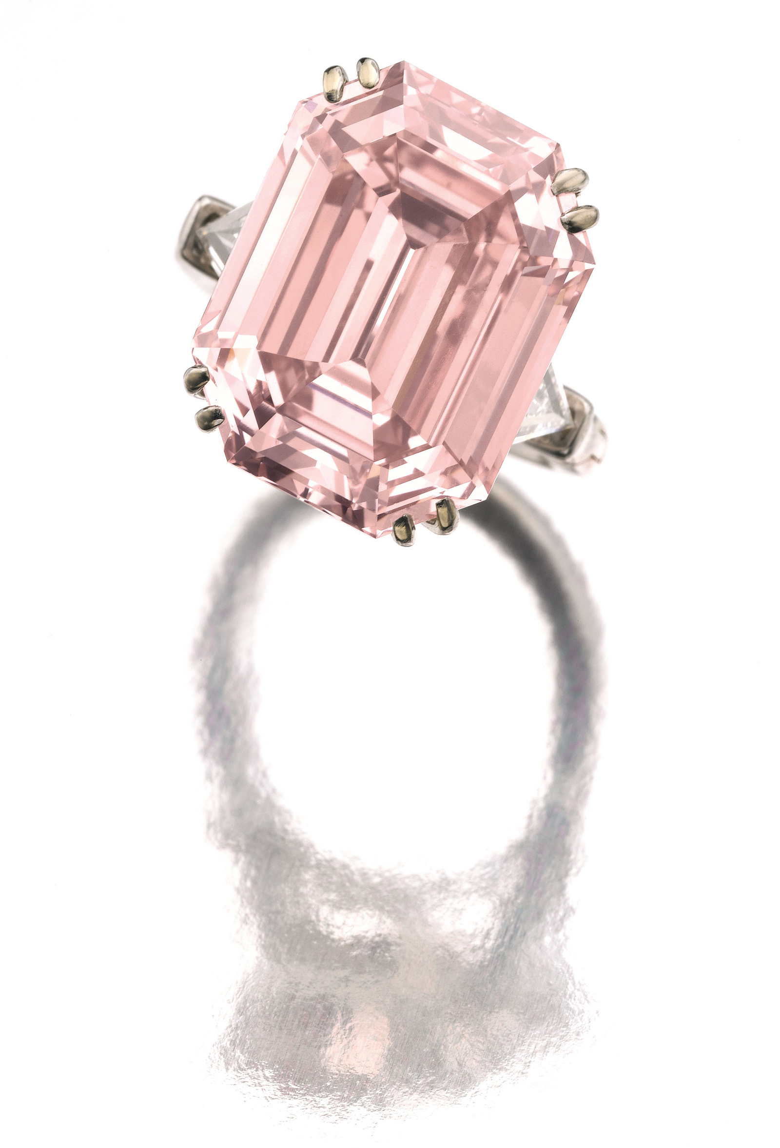 Rare emerald cut pink diamond at Sotheby's