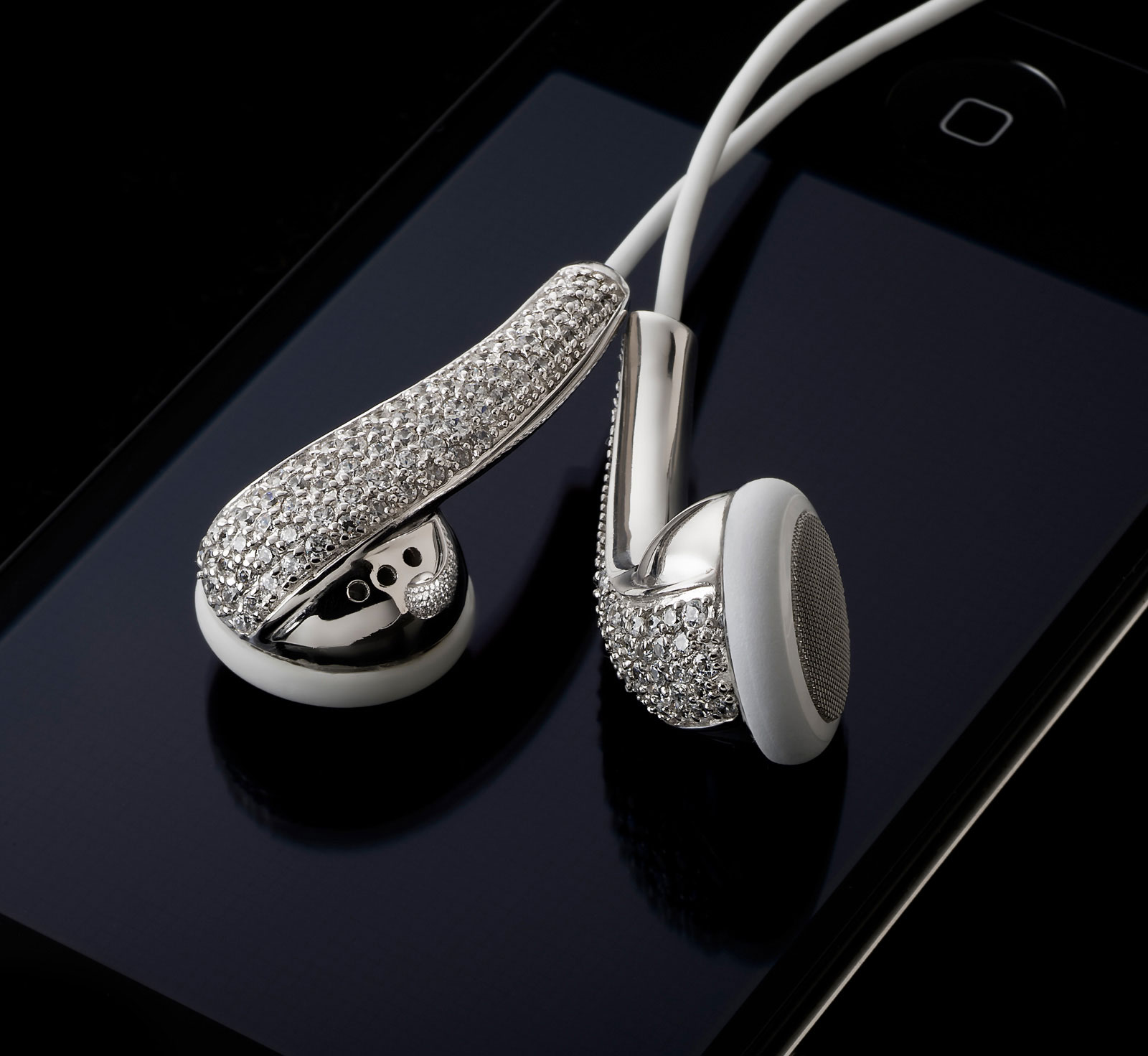 Amosu Couture Swarovski Crystal Apple Headphones