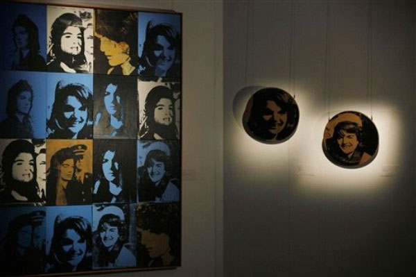 Sixteen Jackies (left) and Round Jackie (right) by Andy Warhol