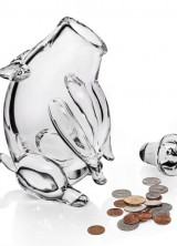 $1.900 Crystal Piggy Bank By Harry Allen Swallows Your Money