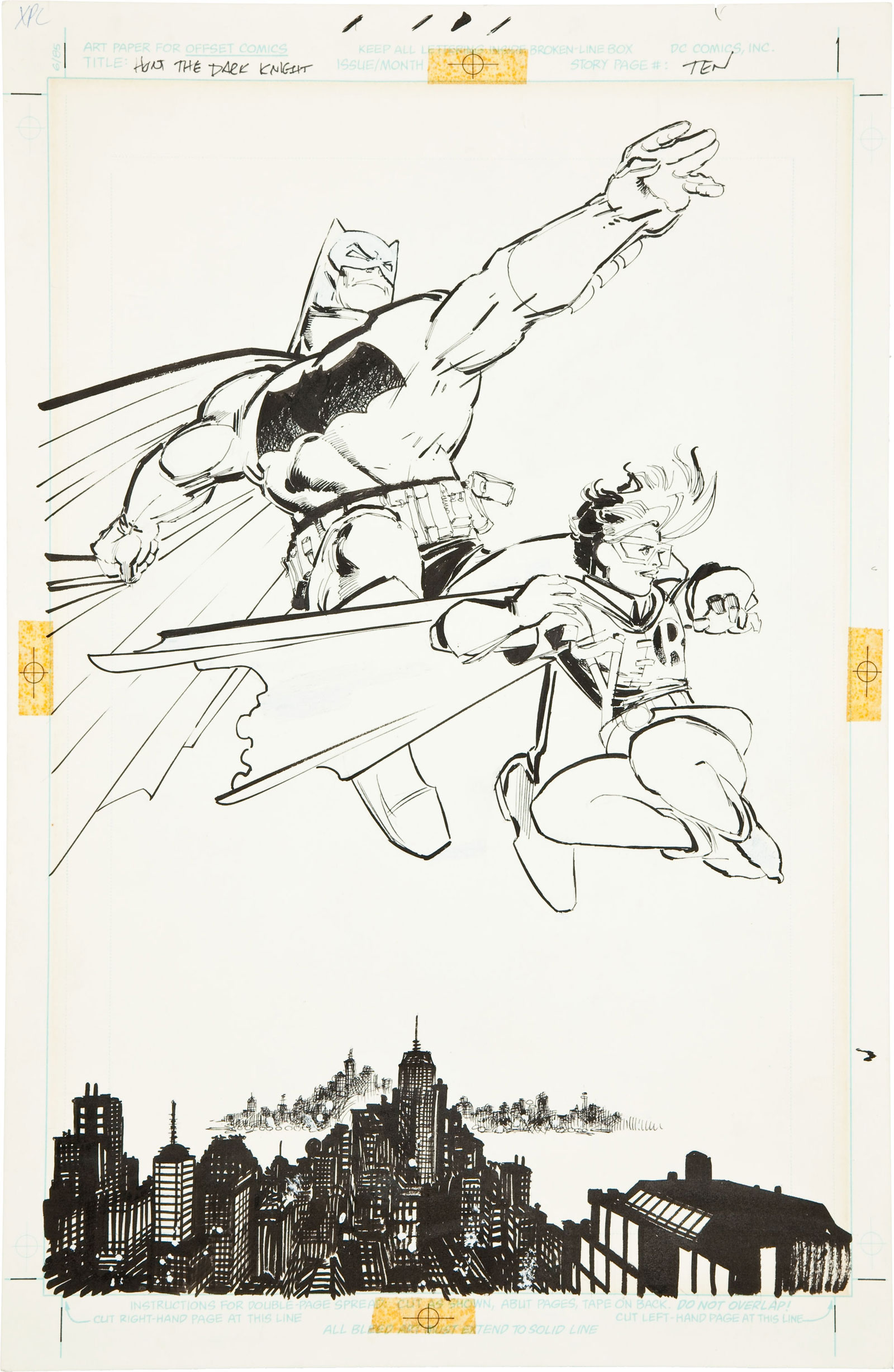 Frank Miller and Klaus Janson Batman: The Dark Knight #3 Batman and Robin Iconic Splash Page 10 Original Art