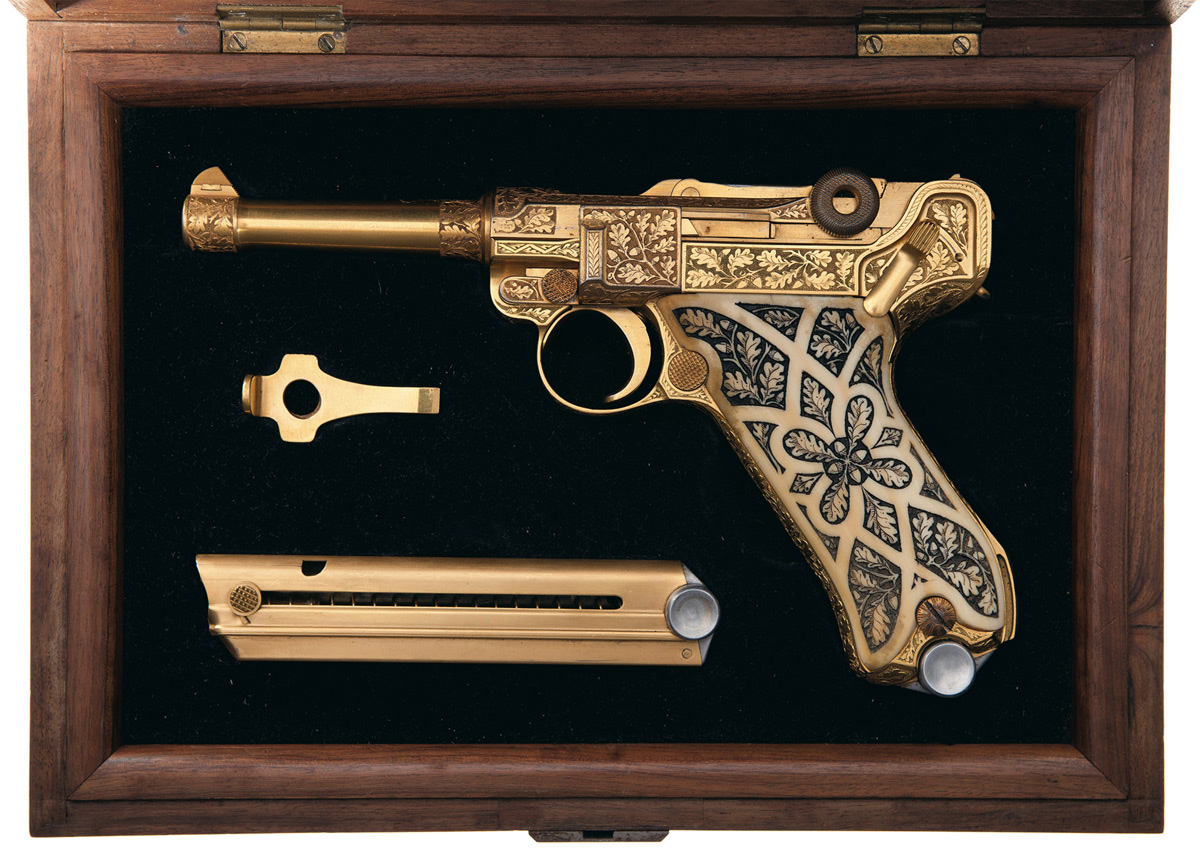 Gold Plated Factory Engraved Carved Ivory Stocked Krieghoff Presentation Luger Pistol