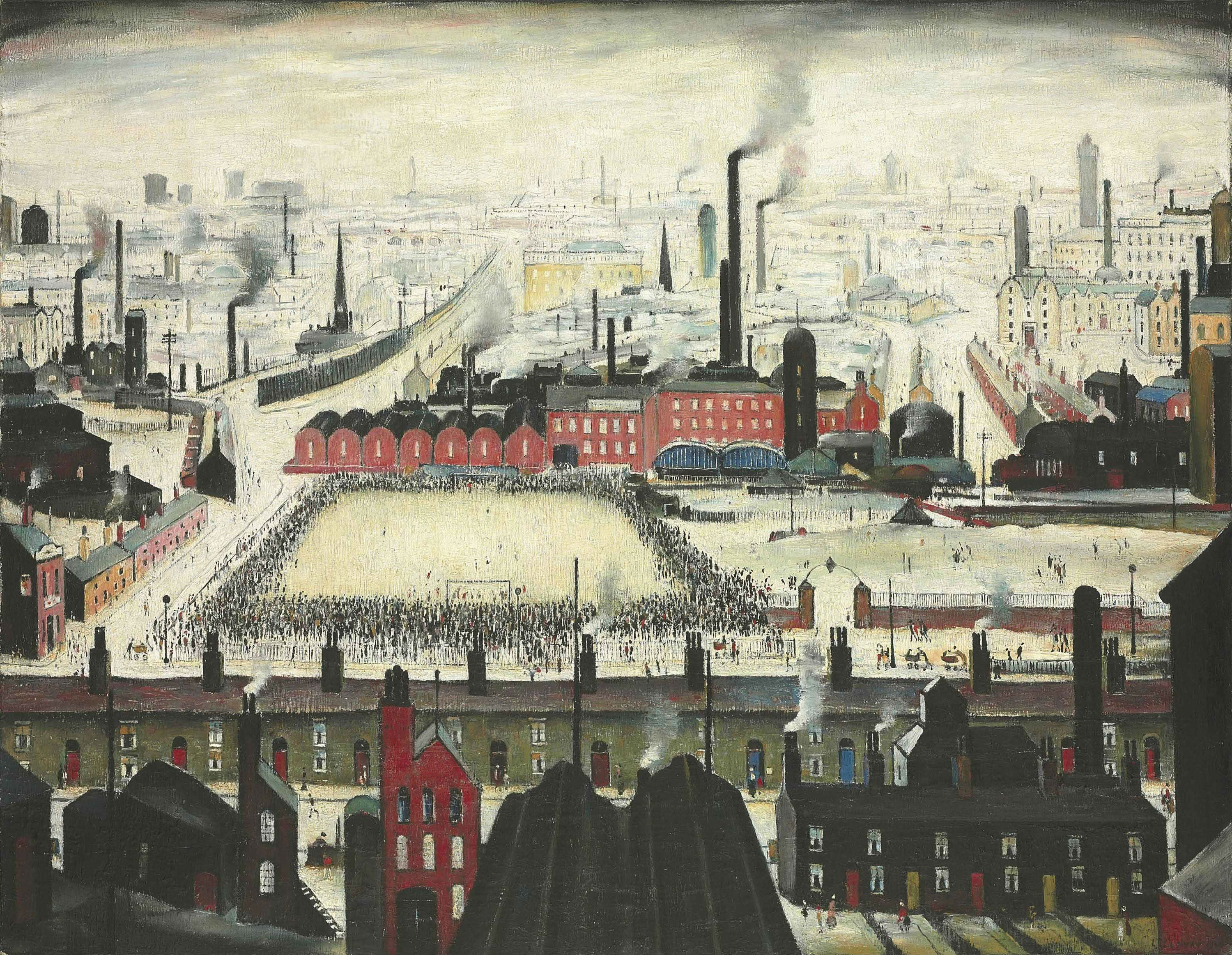 LS Lowry's The Football Match Painting