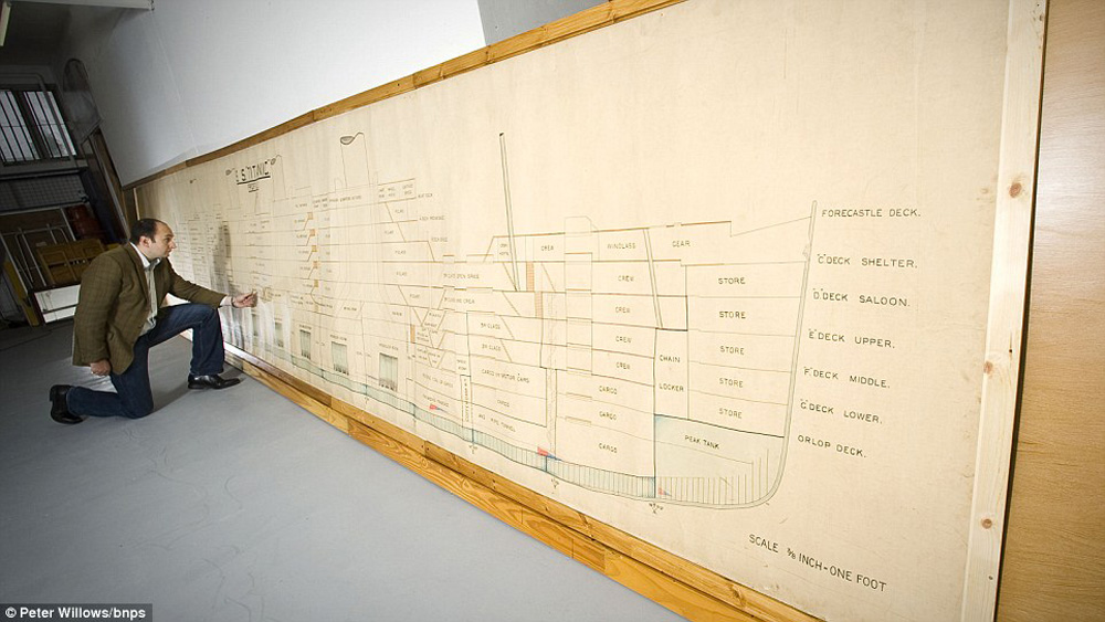 Large Scale Plan Used in Official Inquiry into Titanic Disaster