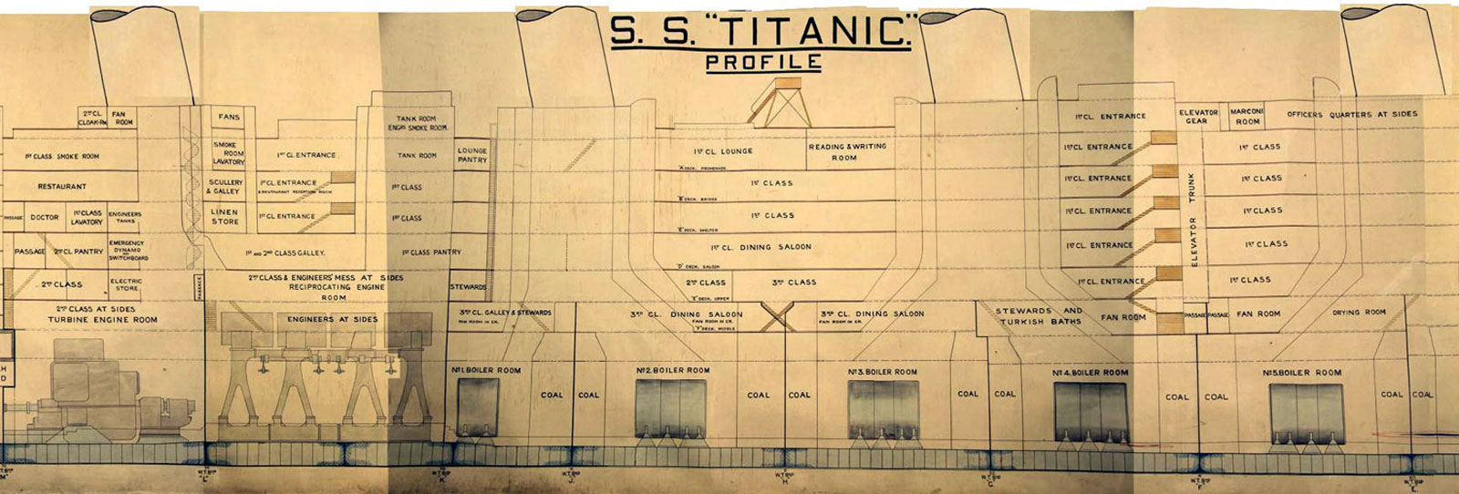 Part of the original 9.9 metre by 1.46 metre plan used in the British Enquiry into the sinking of the Titanic i