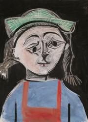 Fillette aux nattes et au chapeau vert by Pablo-Picasso