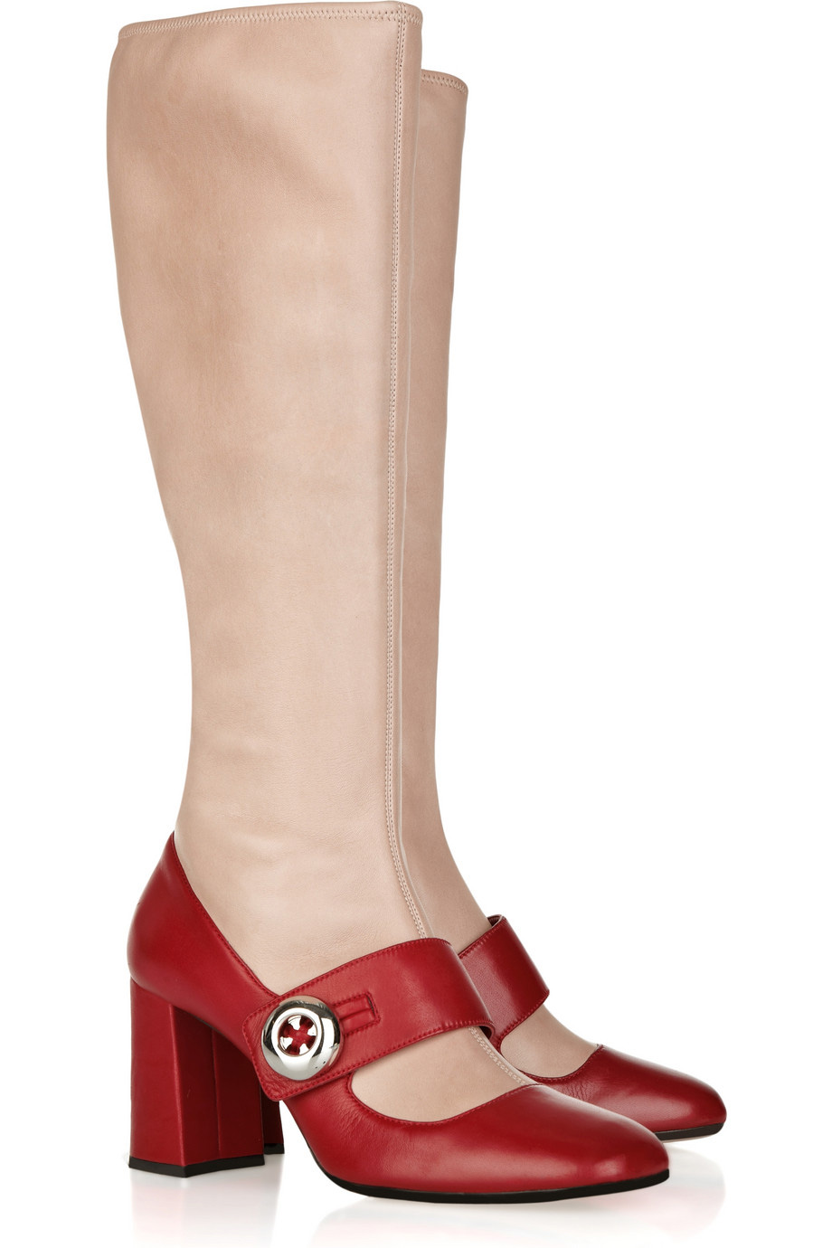 Red and leather Mary Jane boots by Prada