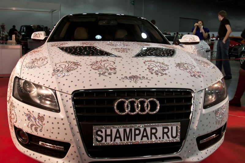 Audi Covered With 450.000 Swarovski Crystals Sparkled At The Moscow Tuning Show