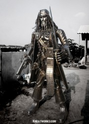 CarCaptain Jack Sparrow Steampunk Metal Sculpture as a Pride of Your Yard