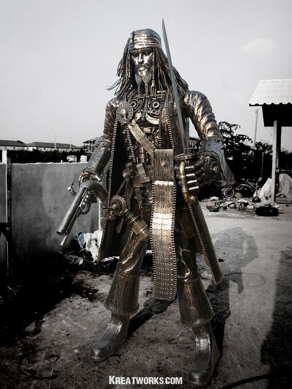 Jack Sparrow Metal Pirate Sculpture