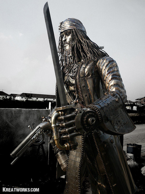 Jack Sparrow Metal Pirate Sculpture