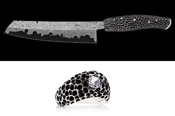 world s most sharpest nesmuk diamond studded kitchen knife