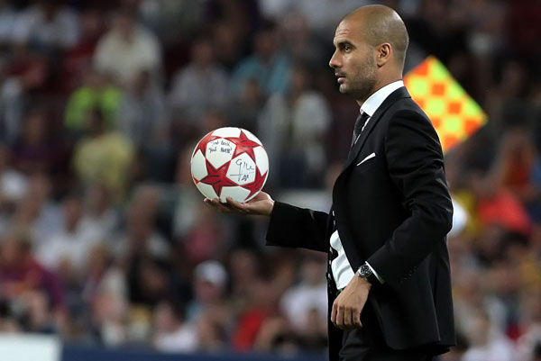 An official Champions League ball signed by Pep Guardiola