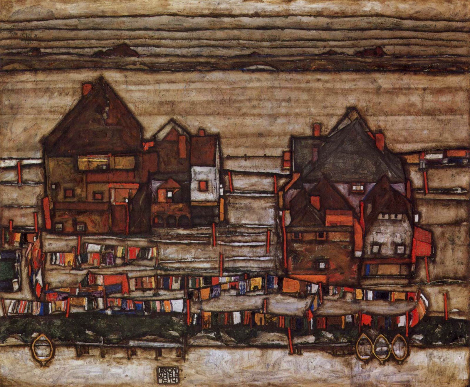 Egon Schiele's Houses with Colorful Laundry (Suburb II)