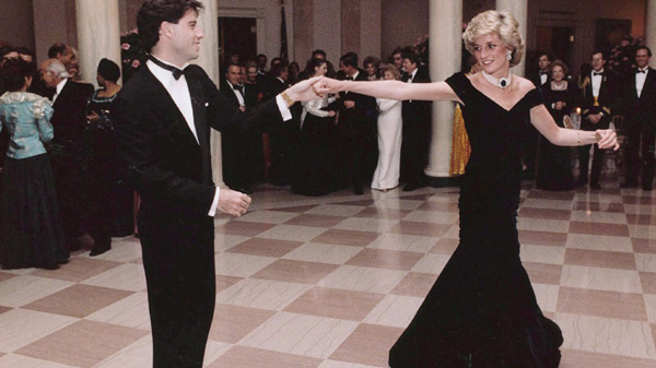 John Travolta dancing with Priness Diana at a 1985 White House dinner