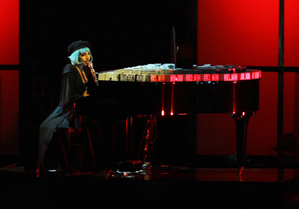 "Lady Gaga performs on the piano during the TV show ""Germany's Next Top Model by Heidi Klum"" in Cologne June 9, 2011. (Photo: REUTERS/Wolfgang Rattay)"