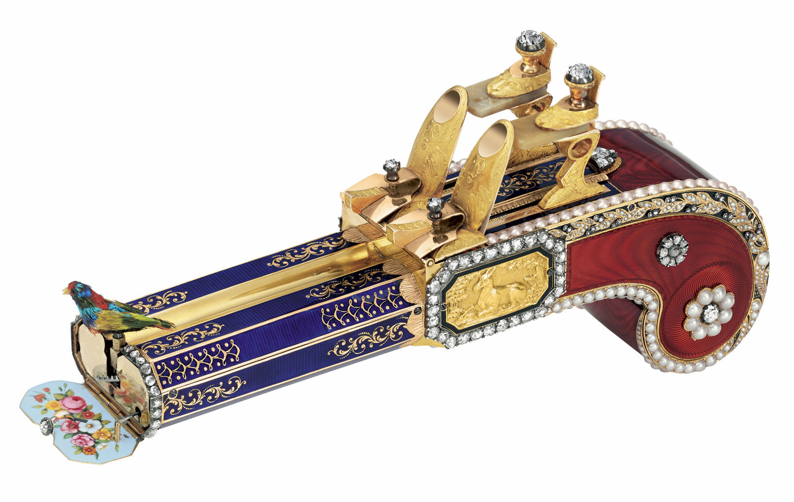 The Only Pair of Matching Singing Bird Pistols, Attributed to Frres Rochat