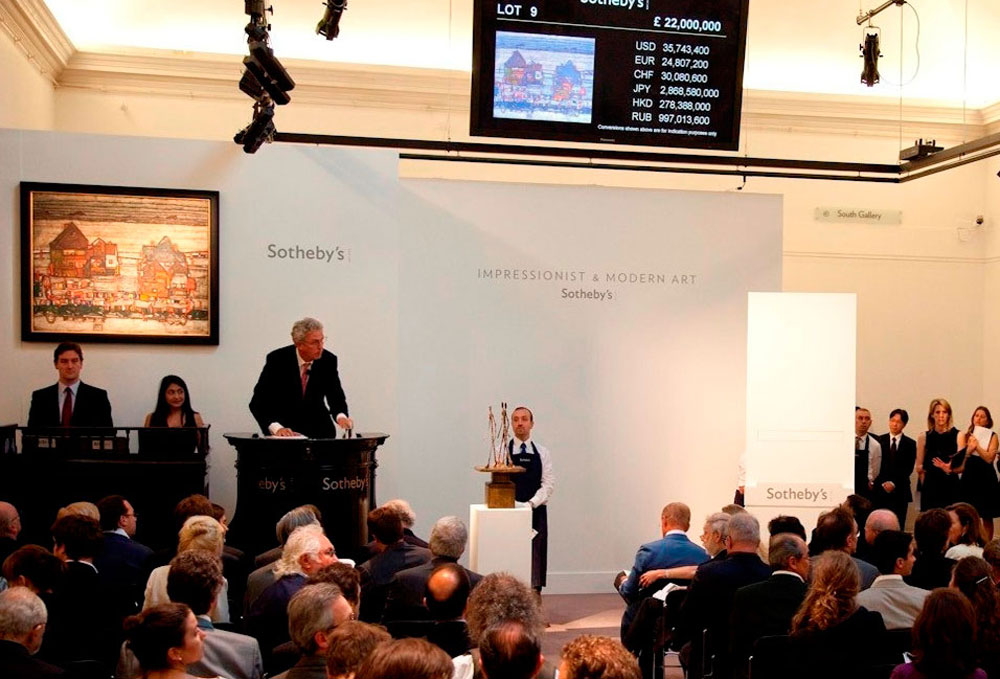 Sotheby's auctioneer sold a rare cityscape by Austrian artist Egon Schiele