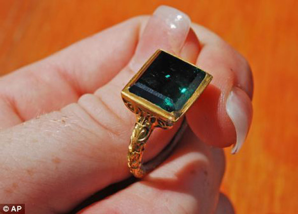 The ancient gold ring with a rectangular cut emerald is believed to come from the Spanish galleon Nuestra Senora de Atocha