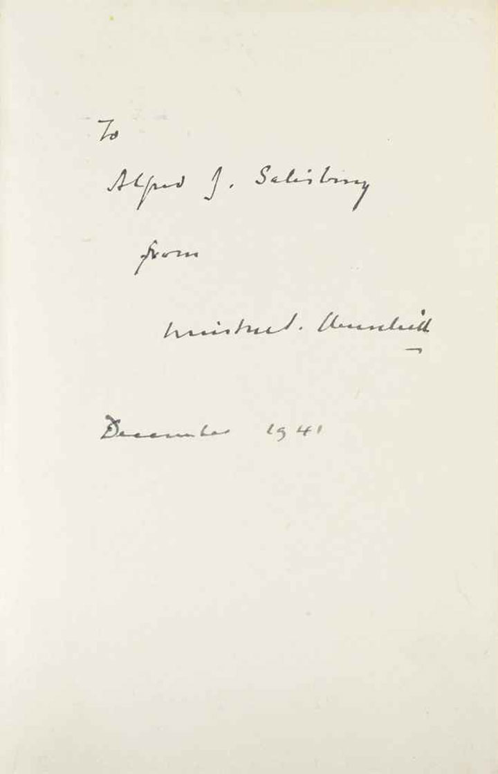 Complete Signed and Inscribed Set of the First Edition of the Wartime Speeches by Winston Churchill