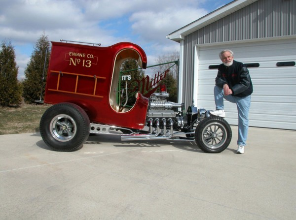 Chuck Miller with 1967 Ford C-Cab Fire Truck - extravaganzi.com