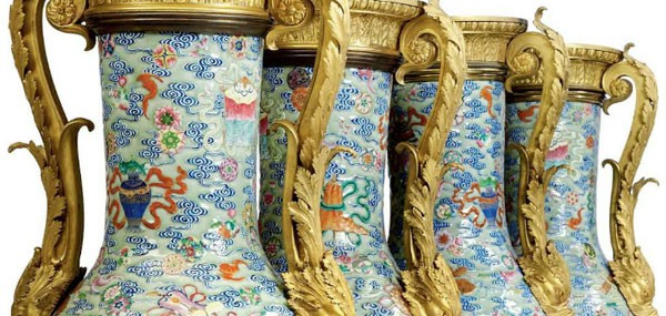 A Set of Four Empire Ormolu-mounted Chinese Porcelain Baluster Vases - extravaganzi.com