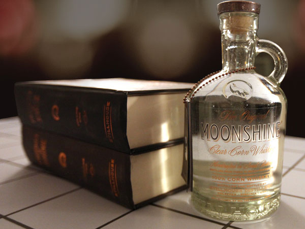 Original Moonshine Clear Corn Whiskey in Book Volume Packaging