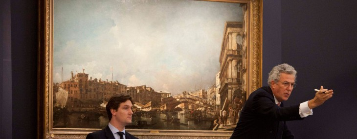 The auction shot with Henry Wyndham selling the Francesco Guardi's Venetian masterpiece