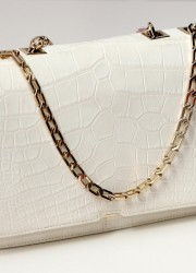 The Pure White Crocodile Skin Handbag by Victoria Beckham