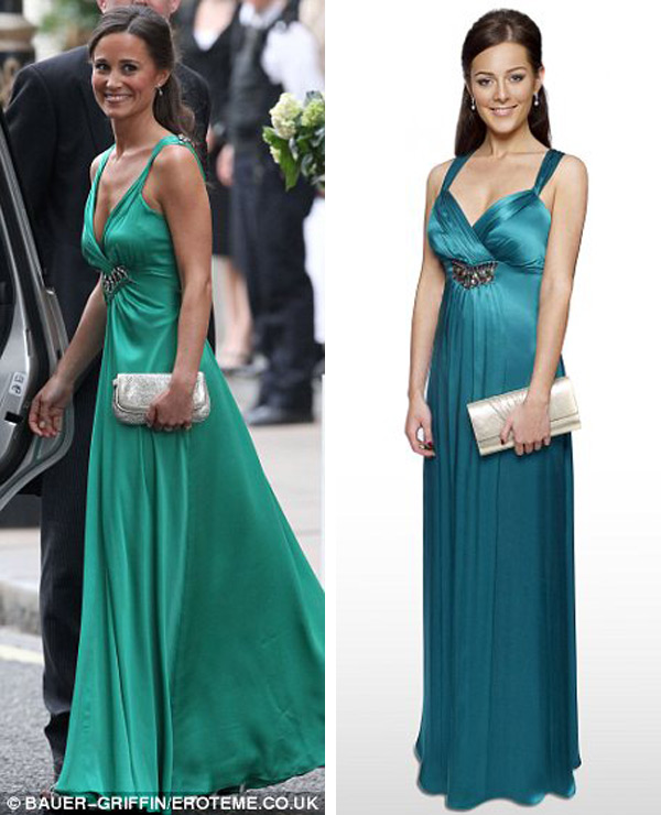 A- replica of the emerald Alice Temperley gown worn by Pippa for her sister's evening wedding reception