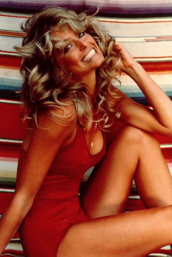Farrah Fawcett in her famous red-swimsuit poster pose from 1977