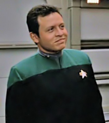 Prince Abdullah (now King Abdullah II) of Jordan, wearing a Starfleet uniform in a 1996 episode of Star Trek: Voyager