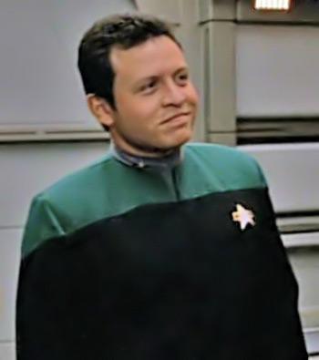 Prince Abdullah (now King Abdullah II) of Jordan, wearing a Starfleet uniform in a 1996 episode of Star Trek: Voyager