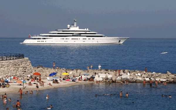 Roman Abramovich's Eclipse Yacht lies at anchor off the coast of Antibes