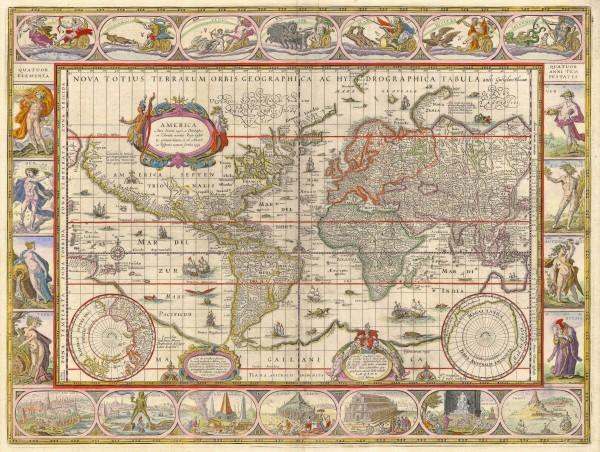 1635 World Map by Willem Blaeu - Nova Totius Terrarum Orbis Geographica Ac Hydrographica Tabula