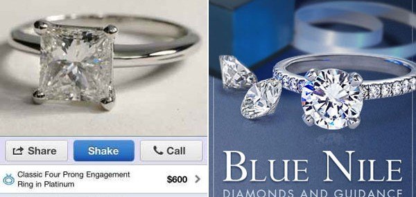 Blue Nile Inc Sold $300,000 Diamond Engagement Ring Via iPhone app