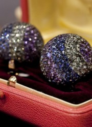 Elizabeth Taylor's diamond and multi colored sapphire Ball ear-clips, from JARS