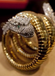 Elizabeth Taylor's diamond, emerald and gold Snake bracelet watch by BVLGARI