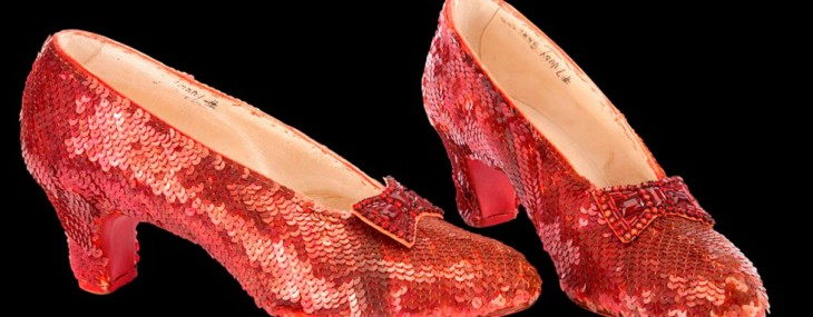 The original Ruby red slippers that Judy Garland wore as Dorothy in The Wizard of Oz