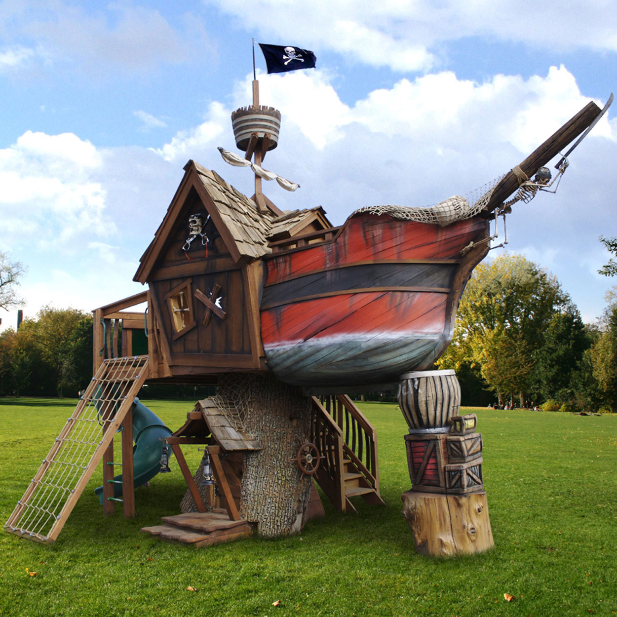 Outdoor Playhouse And Pirate Ship 72