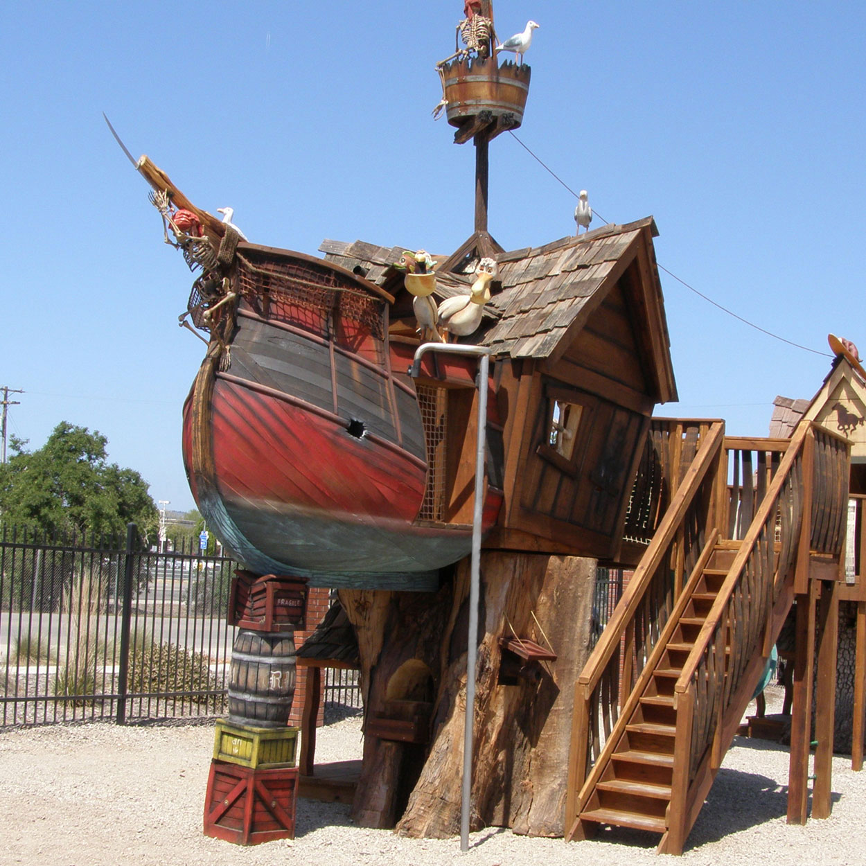 Outdoor Playhouse And Pirate Ship 9