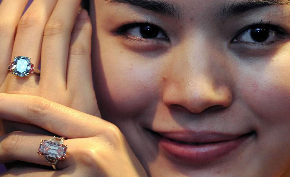 Rare Golconda Fancy Brilliant Pink Diamond Ring at Sotheby's Hong Kong Sale