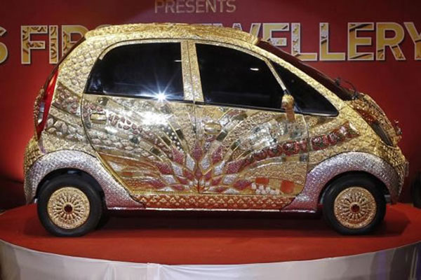 tata nano car made with gold silver and precious stones
