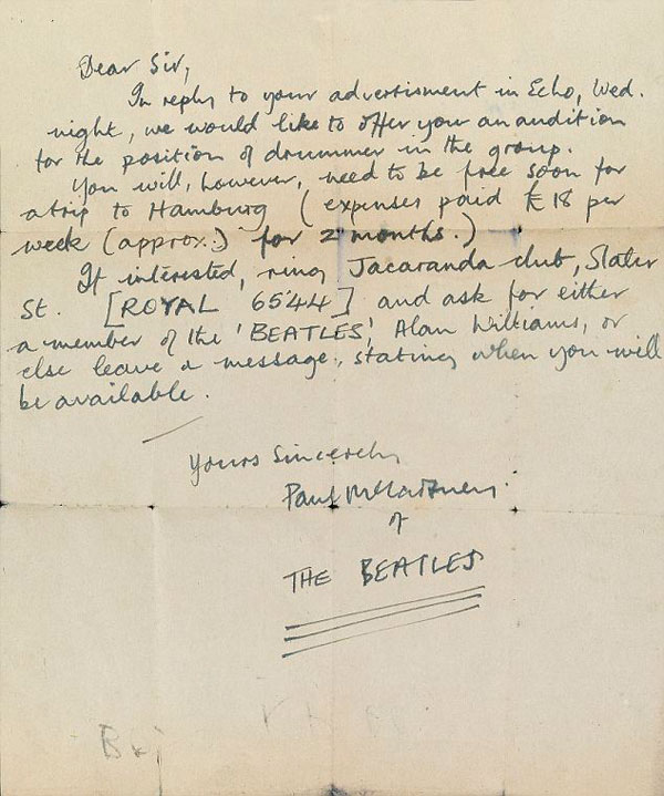 Early Paul McCartney Letter Inviting Drummer to Audition for The Beatles
