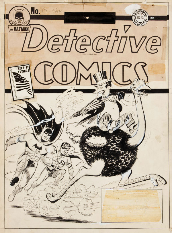 Original 1942 Batman cover art featuring The Penguin expected to bring $300,000