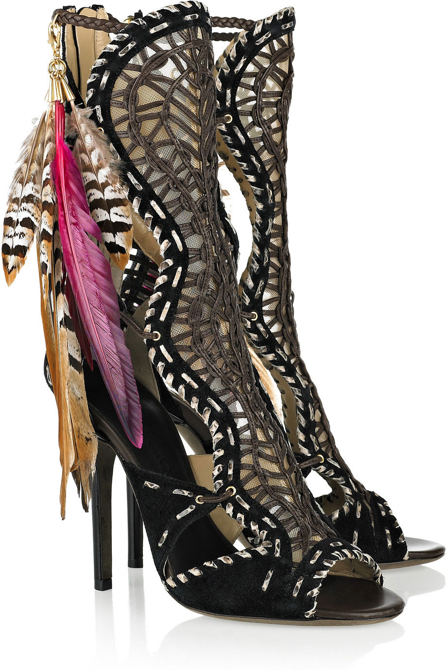 Jimmy Choo Kevan Woven Leather And Suede Sandals