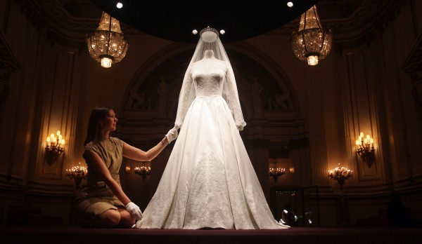 The Duchess of Cambridge's wedding dress on display at Buckingham Palace