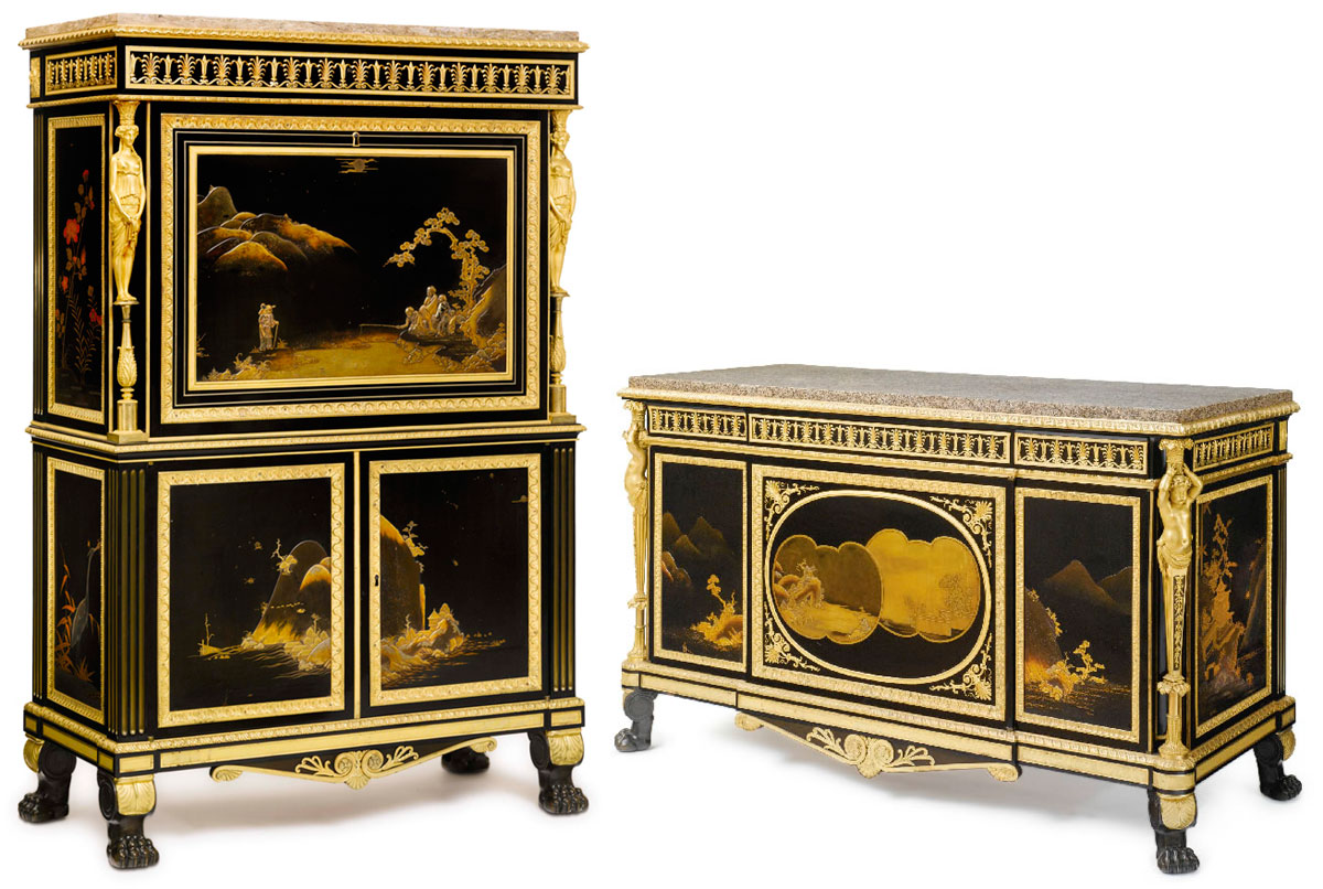 Louis XVI Ormolu-Mounted Japanese Lacquer Commode with Secretaire
