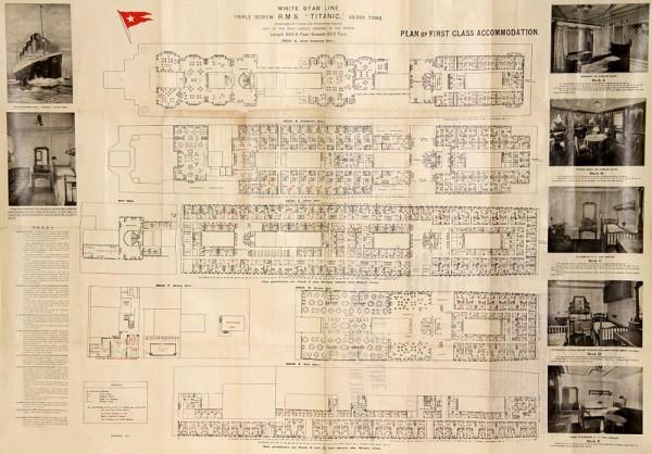 Original Titanic First Class Deck Plan