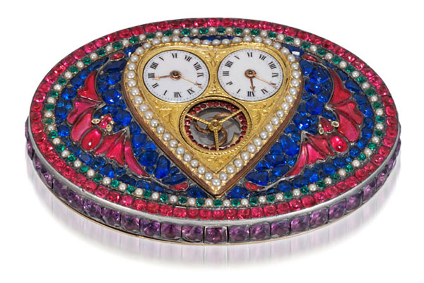 Heart-shaped Gilt, Pearl and Glass-set Belt-buckle Watch